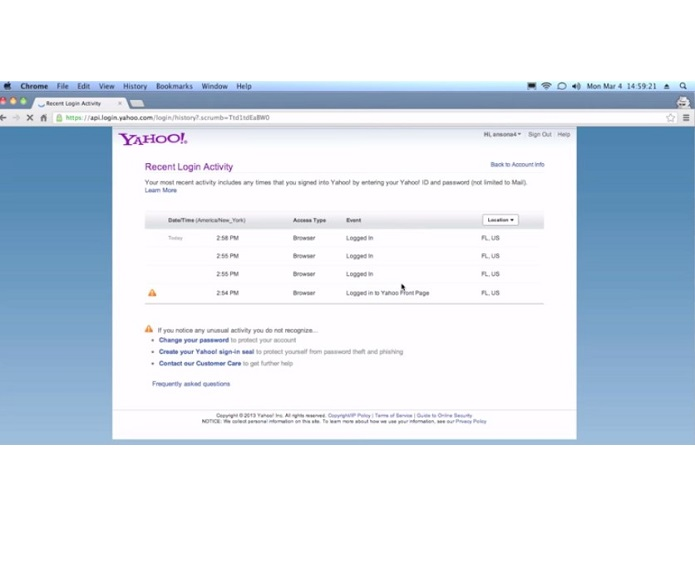 check for hackers on Yahoo